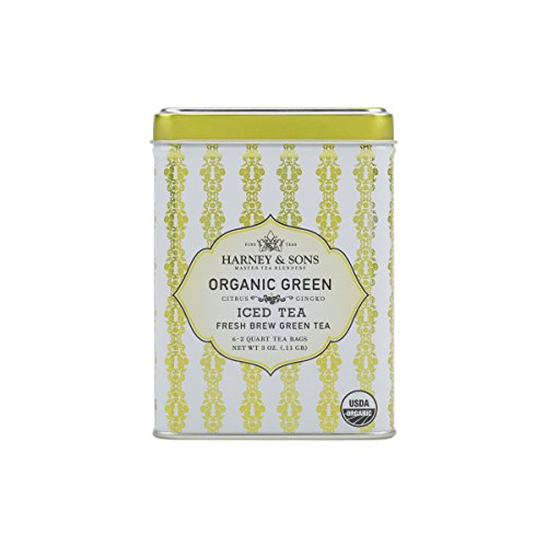 Harney & Sons Green Iced Tea, Organic Citrus Ginko, 6 Tea Bags -