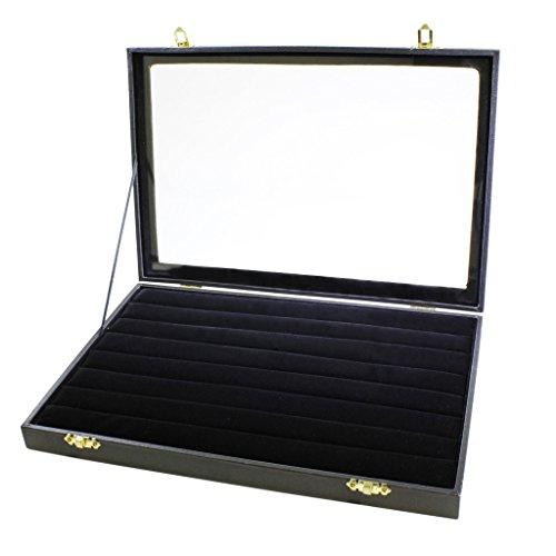 Coffret-boitier-prsentoir-rangement-de-qualit-pour-bagues-et-boutons-de-manchette-couvercle-en-transparent-finitions-en-cuir-synthtique-noir-et-intrieur-velours-noir-par-Kurtzy-TM