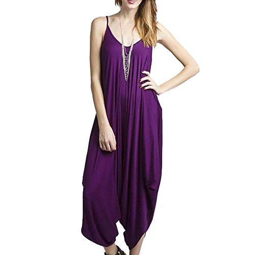 V Robe Sangles Ibaste Halter Été Violet Femmes Combinaisons Collier Sexy wxw0Pf1Eq