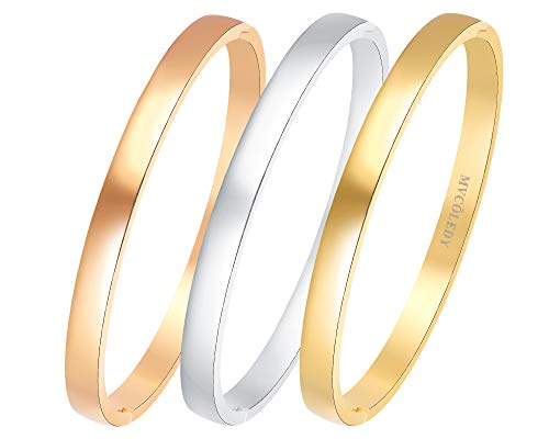MVCOLEDY Jewelry 3 Sets 18 K Gold/Rose Gold/White Bangle Bracelet High Polished Bangle Shiny Minimalist Stainless Steel Bangle for Women Size 7 Inches (3 Sets-Rose Gold,Silver,Gold, 7)