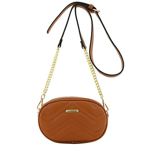 (Quilted Small Versatile Purse Fanny Pack Waist Bag Crossbody Tan)