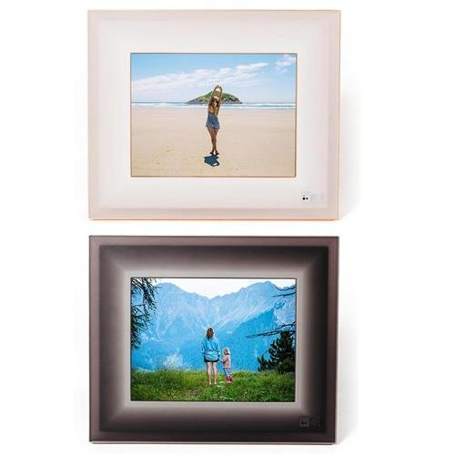 Aura Frames 9.7'' High Resolution LED Digital Photo Frame, Ivory Rosegold - With 9.7'' High Resolution LED Digital Photo Frame, Black Charcoal by Aura Frames