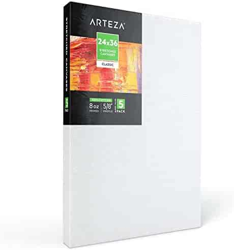 11 oz Primed Large Professional Artist Painting Canvases Ready to Paint White Blank Art Canvas Bulk Set MILO PRO 24 x 36 Stretched Canvas Pack of 4 1.5 inch Deep Gallery Profile