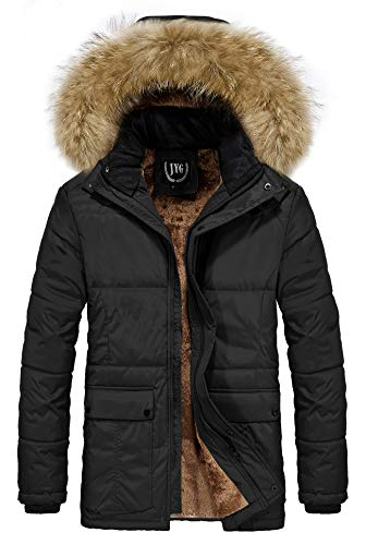 JYG Men's Winter Thicken Coat Quilted Puffer Jacket with Removable Hood,Black,Large