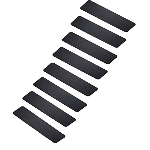 "MBIGM Pack of 8 Non-Slip Safety Step Tapes Wood Stair Treads Floor Track Sticker 80 Grit for Skateboard & Outdoor & Staircase, Black (6""x24"", Black)"
