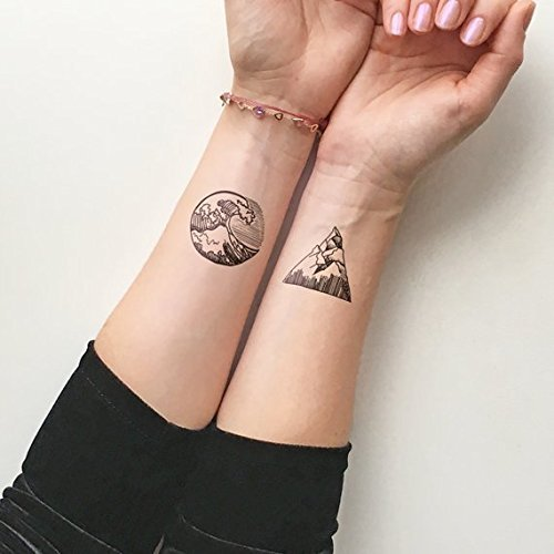 Mountains Waves Temporary Tattoo Set Of 2
