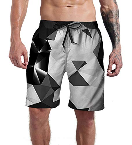 (Goodstoworld Mens 3D Print Short Funny Lounge Wear Black Grey Pants Summer Casual Vacation Jogger Surfing Trunks Sports Shorts Bathing Suit XL)