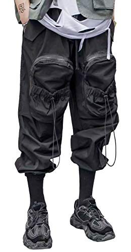 MOKEWEN Men's Drawstring Elastic Waist Ankle Band Hip hop Cargo Jogger Pants with Pocket