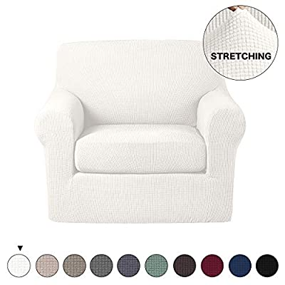 Turquoize 2 Piece Chair Slipcovers with Elastic Bottom Gray Sofa Slipcover Sofa Cover Furniture Protector for Living Room Arm Chair Cover with Polyester Jacquard Small Check