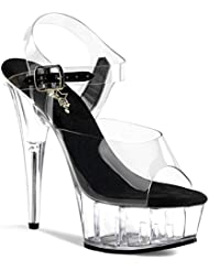 Summitfashions Womens Ravishing See Through 6 Inch Clear High Heels Lucite Sandals Shoes