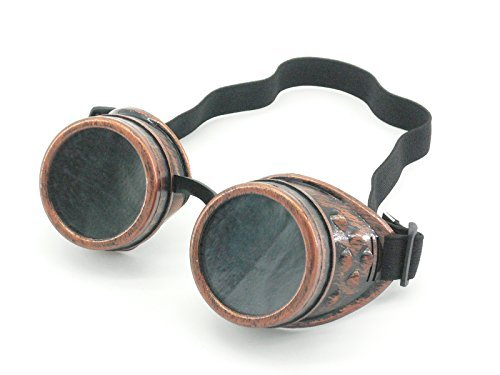 Mad Scientist Glasses (Sepia Cyber Goggles Steampunk Welding Goth Cosplay Vintage Goggles Rustic (Copper))