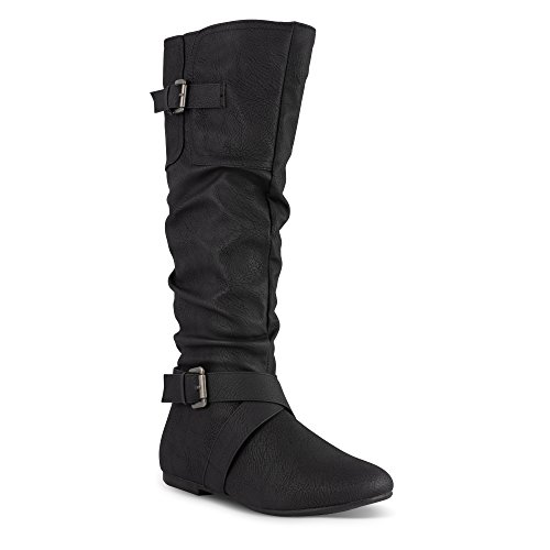Twisted Women's Faux Leather Slouchy Buckle Strap Mid Calf Boots - VAN0109 Black, Size 10