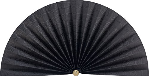 Neat Pleats Decorative Fan, Hearth Screen, or Overdoor Wall Hanging - L433 - Black Moire