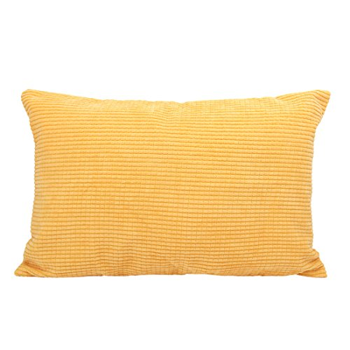 uxcell Throw Pillow Cover,Velvet Cushion Cover Comfortable Corduroy Corn Striped Soft Pillow Case for Couch Sofa Bed Car(12 x 18 Inch,Yellow) ()