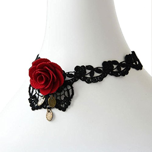 Necklace, Hatop Women Handmade Red Flower Rose Leaf Lace Chunky Choker Necklace Gothic Bridal (Dragon Lady Red Costume)