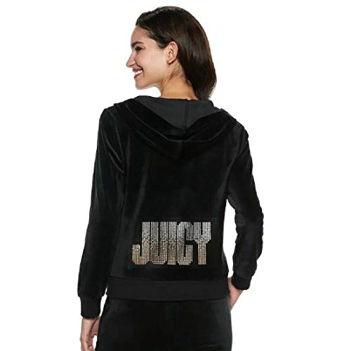 Juicy Couture Women's Pitch Black Velour Hoodie w Metallic Logo - S
