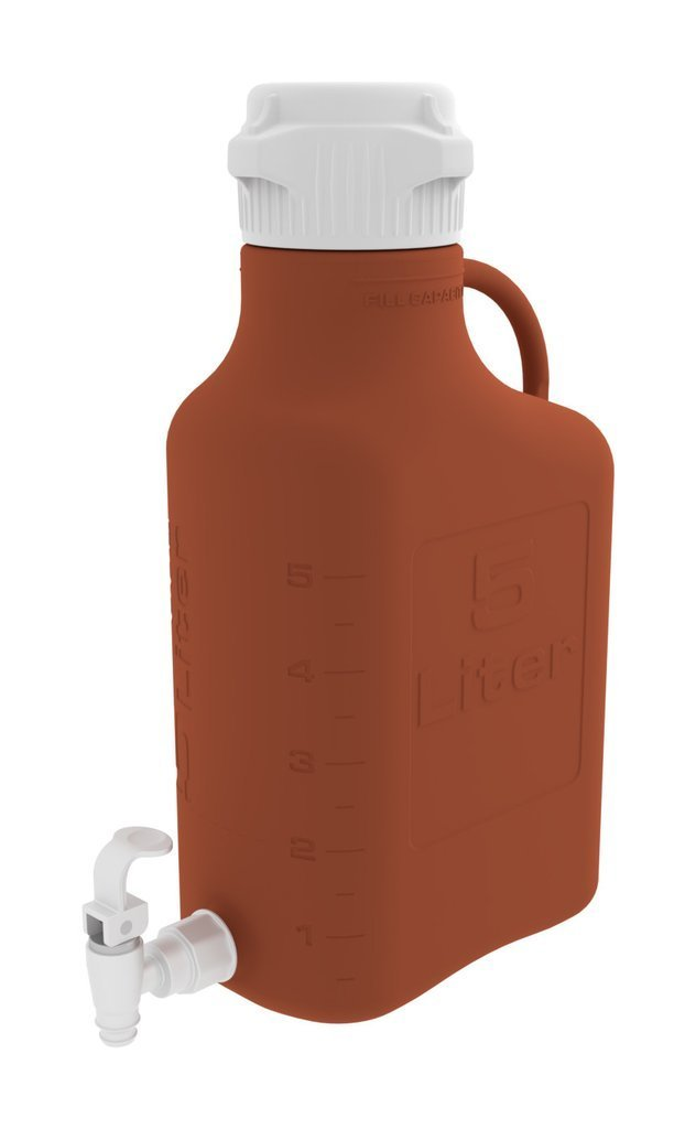 Foxx Life Sciences - 5L (1 Gal) Amber HDPE Carboy with 83mm Cap and Spigot