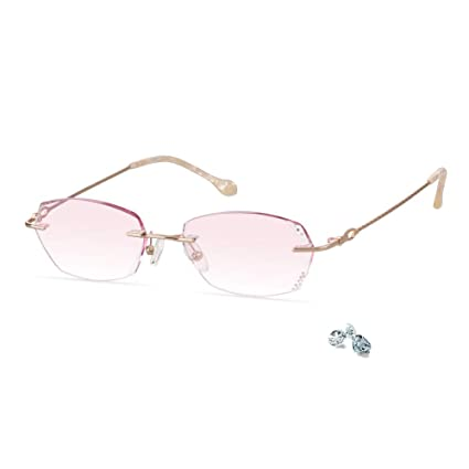 a1123c91ef54 LifeArt Blue Light Blocking Rimless Glasses With Diamond,Computer Reading  Glasses,Reduce Headaches&Eyestrain,Stylish For Women/Men+3.50  Magnification: ...