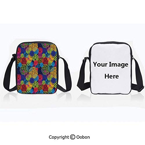 Polyester Anti-Theft Cross-Body Bag Unisex Adult Grunge Stylized Murky Sketchy Geometric Forms with Hand Drawn Lines Image Artwork Multi Zipper Bucket Anti Theft Bag For Journey