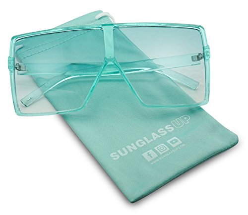 Big XL Large Oversized Super Flat Top Square Two Tone Color Fashion Sunglasses (Teal Blue | Blue, 69)]()