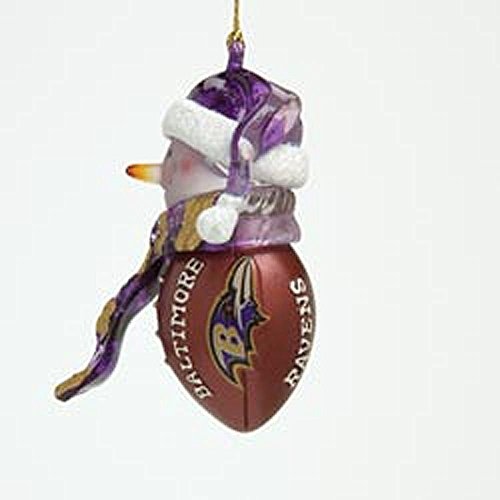 Scottish Christmas Baltimore Ravens Ornament: Striped Acrylic Snowman Football Ornament
