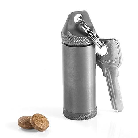 TI-EDC Titanium Large Pill Fob - Nitro Bottle Holder, Keychain Everyday Carry Pill Container - Ti Alloy
