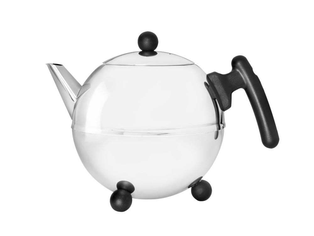 bredemeijer Bella Ronde Double Walled Teapot, 1.2-Liter, Stainless Steel Glossy Finish with Black Accents
