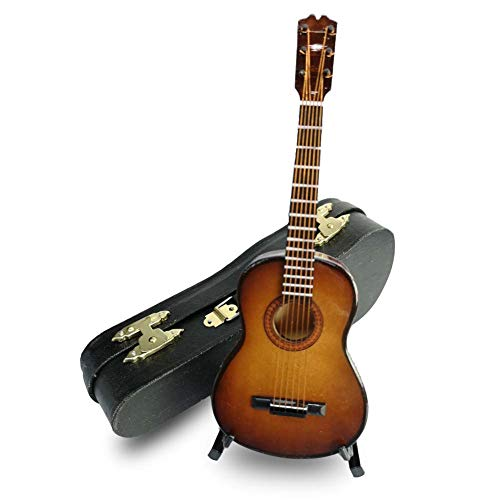 - LS Classical Guitar Christmas Ornament, Acoustical Wooden Music Instrument, Mini Toy Guitar Musical Instrument Miniature Dollhouse Model Home Decoration with Case (6.3