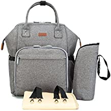 Diaper Backpack Bag with Wide Open Design, Changing Pad, Insulated Cooler Pocket for Bottle Storage, Stroller Straps, by Pantheon, for Boys or Girls, Mom or Dad