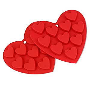 Chocolate Molds, Candy Mold, Ice Cube Molds, Silicone Mold, Baking Molds, Soap Molds with 10-Capacity Heart Shape Bakeware-Crystallove (2pcs/pack)