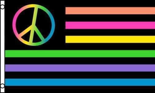 ALBATROS US Neon Rainbow Peace Sign Flag 3 ft x 5 ft ft USA Stars Stripes American America Colors for Home and Parades, Official Party, All Weather Indoors Outdoors