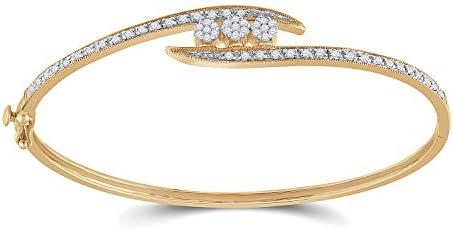 14kt Yellow Gold Womens Round Diamond Cluster Bangle Bracelet 1/2 Cttw