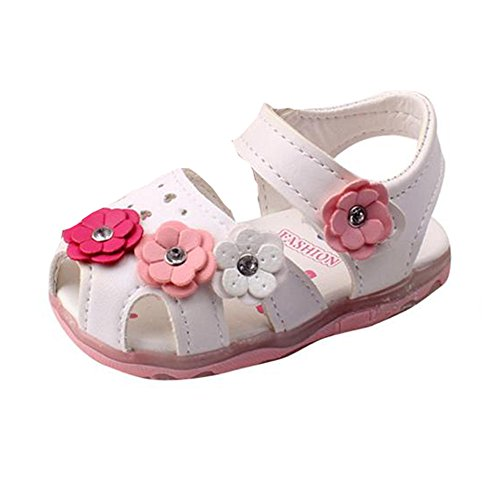 DEESEE(TM) Baby Shoes for 3-24M Hollow Sandals Soft Sole Princess Girls Bowknot Beach Anti-Slip Squeaky Single Shoes (18M, White)