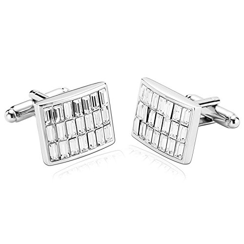 1 Pair Stainless Steel Cufflinks For Men Rectangle CZ Silver White Cufflinks 1.8X1.5CM H61 Dad Unique Jewelry Box Fancy Elegant Aooaz 1 Dad Cufflinks