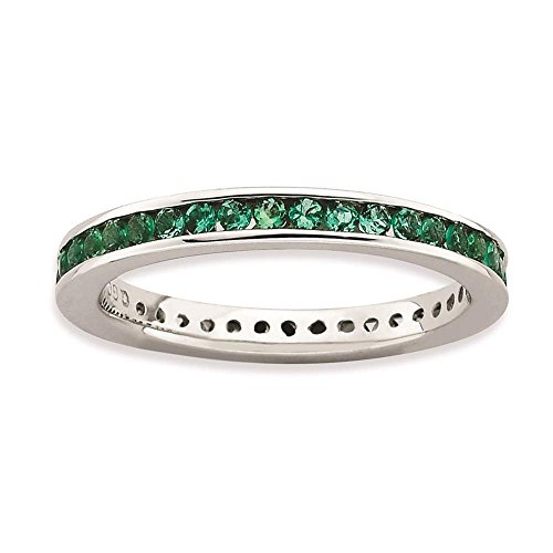 925 Sterling Silver Rhodium-plated Polished Created-Emerald Eterntiy Ring by Stackable Expressions Size 9