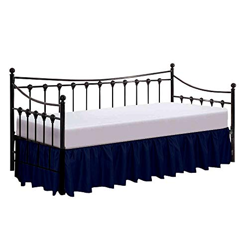 "Rajlinen Bed Skirt for Day beds- Split Corners, Ruffle Gather- Genuine Poly Cotton/Microfiber Twin- 18"" Wrinkle Fade Resistant (Navy Blue)"