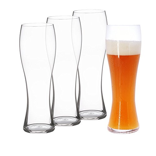 Spiegelau Classics Hefeweizen Beer Glasses - (Clear Crystal, Set of 4)
