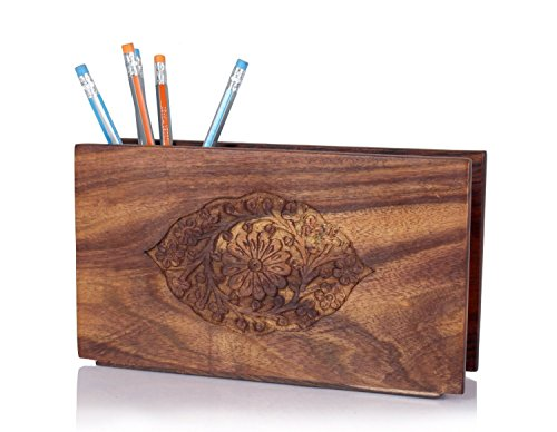 Wooden Pen Holder Organizer Desk Decoration For Home and Office (Floral Carvings Collection)