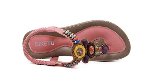 Amande Chaussures Sweet DANDANJIE Summer Rose Sandals Rose Strass Noir Sandales pour extérieure de Femmes Bohemia Mode en Strass Ixa4Sq