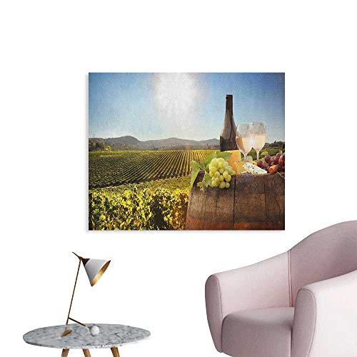 Anzhutwelve Wine Wallpaper White Wine with Barrel on Famous Vineyard in Chianti Tuscany Agriculture Custom Poster Green Brown Pale Blue W28 xL20
