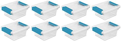 Sterilite Mini Clip Box, Clear with Blue Aquarium Latches, 8-Pack (Containers Sterilite Small)