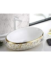 InArt Oval Shape Above Counter Porcelain Ceramic Bathroom Vessel Vanity Vessel Sinks for Lavatory Vanity Cabinet 60 x 40 x 15 cm