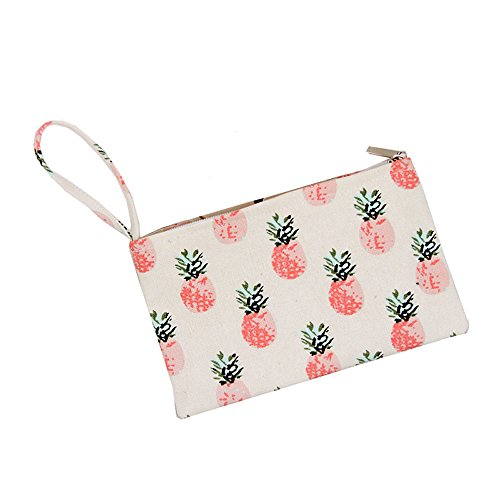 Lacheln Canvas Coin ID Purses Cash Bag Money Wallet with Wristlet for Women Girls ,Pink Pineapple (Small Wristlet)