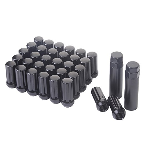 HanAuto Black Lug Nuts with 2 KEY (9/16-18 Thread Size) - Pack of 32 Wheel Lug nuts,751916K322 (Blox Lug Nuts)