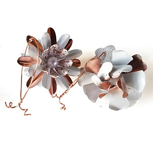 Copper Tone and White Small Metal Flower Ornaments (Set of 2)