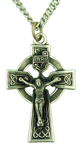 Irish Celtic Cross 1 5/8 Inch Sterling Silver Crucifix (Sterling Silver Celtic Crucifix)