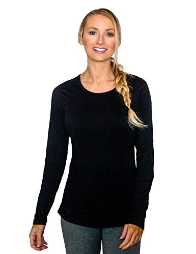 Woolx Women's Remi Lightweight & Breathable Merino Wool Long Sleeve Tee, Black, Medium (Smartwool Base Layer)