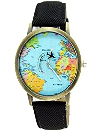 Women Men Denim Fabric World Map Watches Quartz Relojes Mujer Relogio Feminino Gift Black
