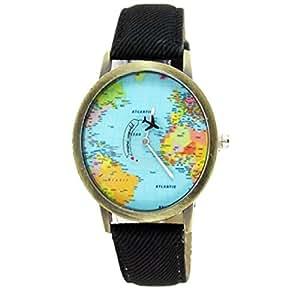 Amazon.com: Women Men Denim Fabric World Map Watches Quartz Relojes Mujer Relogio Feminino Gift