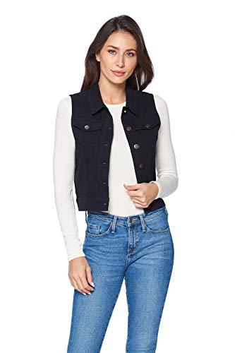 ICONICC Women's Sleeveless Vest Jean Jacket Color Denim Black (V6006_BLK_M)